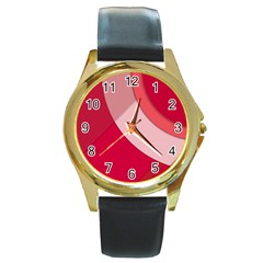 Red Material Design Round Gold Metal Watch