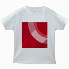 Red Material Design Kids White T Shirts