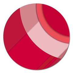 Red Material Design Magnet 5  (round)