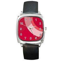 Red Material Design Square Metal Watch