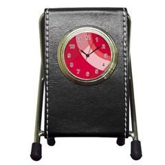 Red Material Design Pen Holder Desk Clocks