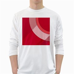 Red Material Design White Long Sleeve T Shirts