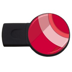 Red Material Design Usb Flash Drive Round (4 Gb)