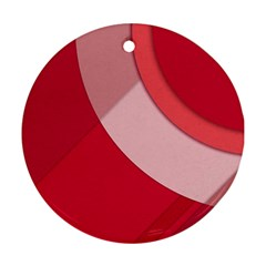 Red Material Design Round Ornament (two Sides)
