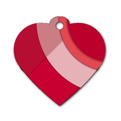 Red Material Design Dog Tag Heart (one Side)