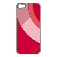 Red Material Design Apple Iphone 5 Case (silver)