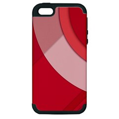 Red Material Design Apple Iphone 5 Hardshell Case (pc+silicone)