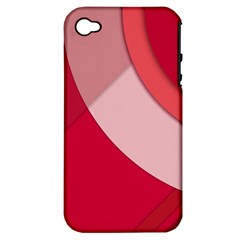 Red Material Design Apple Iphone 4/4s Hardshell Case (pc+silicone)