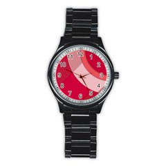 Red Material Design Stainless Steel Round Watch