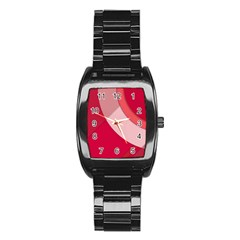 Red Material Design Stainless Steel Barrel Watch