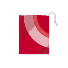 Red Material Design Drawstring Pouches (small)