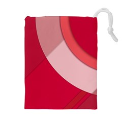 Red Material Design Drawstring Pouches (extra Large)