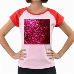 Pink Glitter Women s Cap Sleeve T Shirt