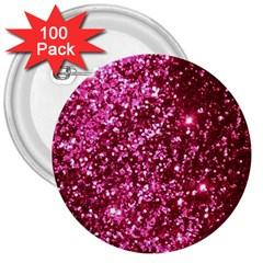 Pink Glitter 3  Buttons (100 Pack)