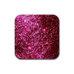 Pink Glitter Rubber Coaster (Square)