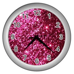Pink Glitter Wall Clocks (silver)