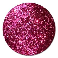 Pink Glitter Magnet 5  (round)