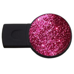 Pink Glitter Usb Flash Drive Round (2 Gb)
