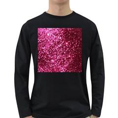 Pink Glitter Long Sleeve Dark T Shirts