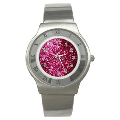 Pink Glitter Stainless Steel Watch