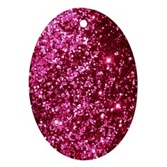 Pink Glitter Oval Ornament (two Sides)