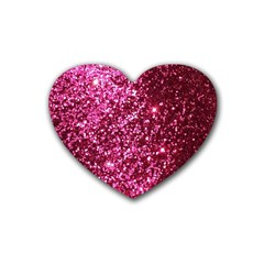 Pink Glitter Rubber Coaster (heart)