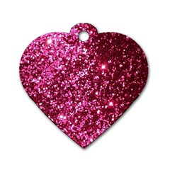 Pink Glitter Dog Tag Heart (two Sides)