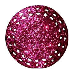 Pink Glitter Round Filigree Ornament (two Sides)