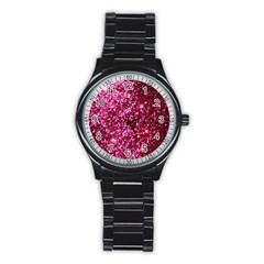 Pink Glitter Stainless Steel Round Watch