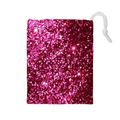 Pink Glitter Drawstring Pouches (large)