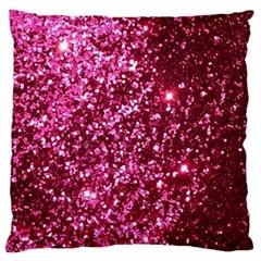 Pink Glitter Large Flano Cushion Case (One Side)