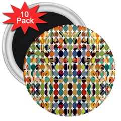 Retro Pattern Abstract 3  Magnets (10 Pack)