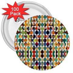 Retro Pattern Abstract 3  Buttons (100 Pack)