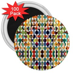Retro Pattern Abstract 3  Magnets (100 Pack)