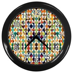 Retro Pattern Abstract Wall Clocks (black)