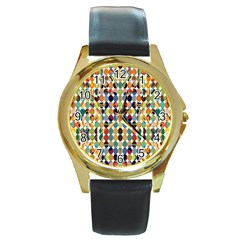 Retro Pattern Abstract Round Gold Metal Watch