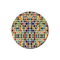 Retro Pattern Abstract Rubber Round Coaster (4 Pack)
