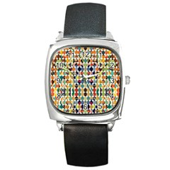 Retro Pattern Abstract Square Metal Watch