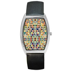 Retro Pattern Abstract Barrel Style Metal Watch