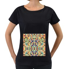 Retro Pattern Abstract Women s Loose Fit T Shirt (black)