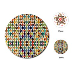Retro Pattern Abstract Playing Cards (round)