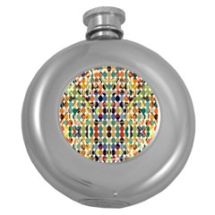 Retro Pattern Abstract Round Hip Flask (5 Oz)