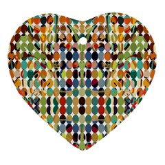 Retro Pattern Abstract Heart Ornament (two Sides)