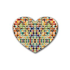 Retro Pattern Abstract Rubber Coaster (heart)