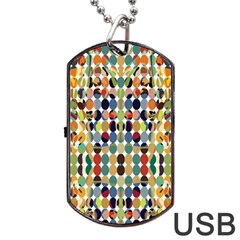 Retro Pattern Abstract Dog Tag Usb Flash (two Sides)