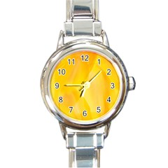 Yellow Pattern Painting Round Italian Charm Watch