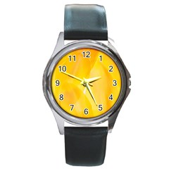 Yellow Pattern Painting Round Metal Watch