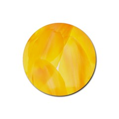 Yellow Pattern Painting Rubber Coaster (round)
