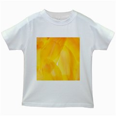 Yellow Pattern Painting Kids White T Shirts