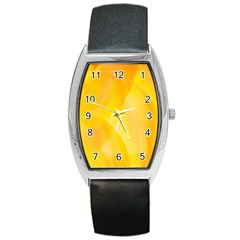 Yellow Pattern Painting Barrel Style Metal Watch
